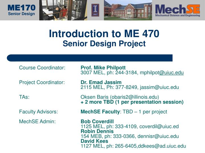 introduction to me 470 senior design project n.