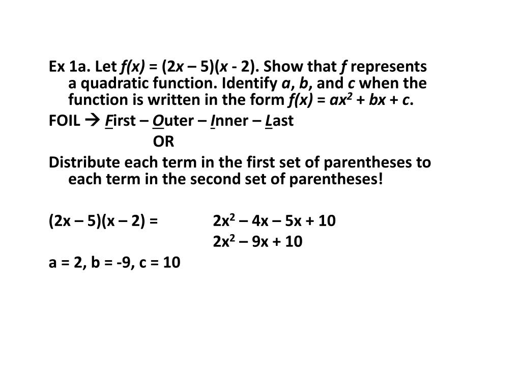 PPT - 5 1 – Introduction to Quadratic Functions PowerPoint