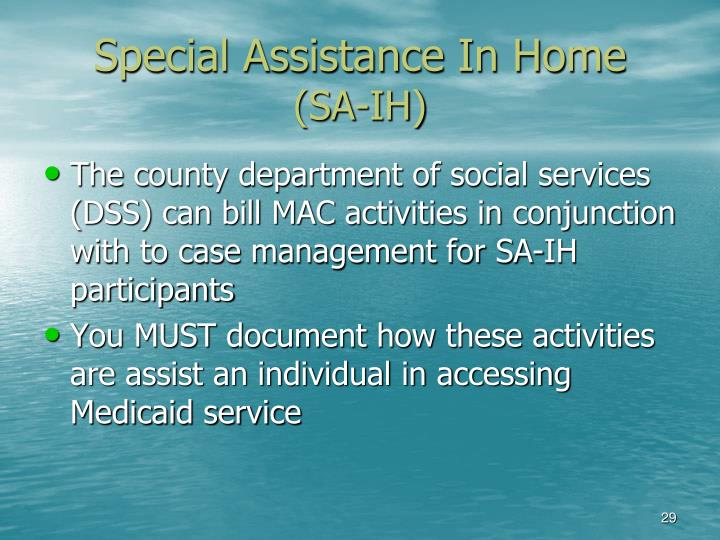 Special Assistance In Home