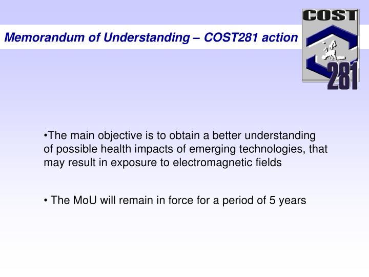 Memorandum of Understanding – COST281 action
