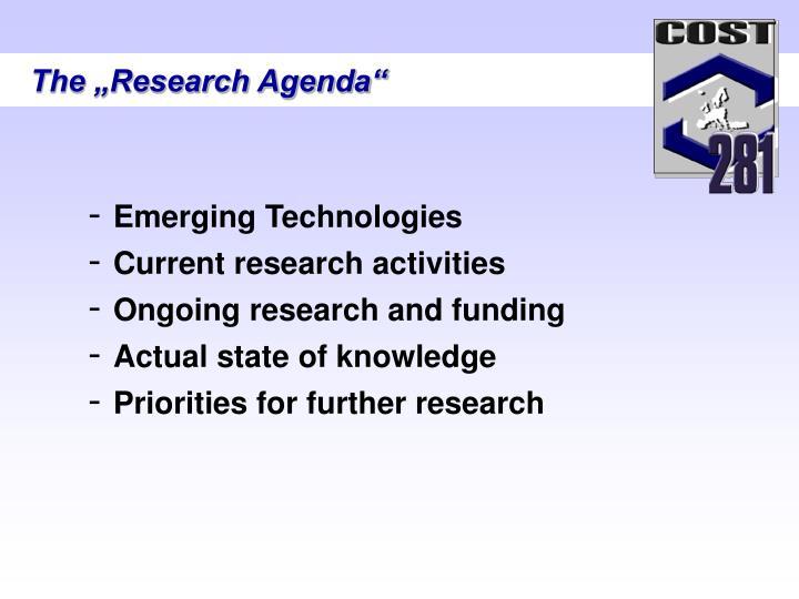 """The """"Research Agenda"""""""