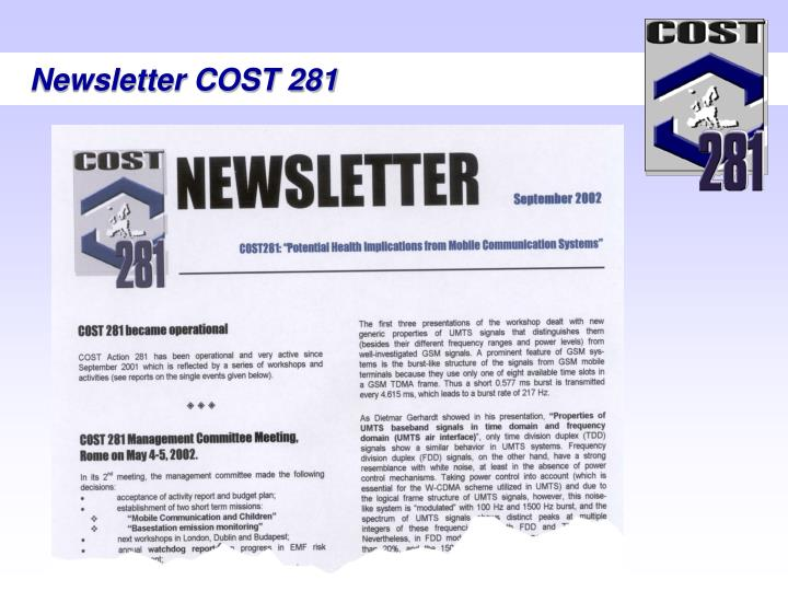 Newsletter COST 281