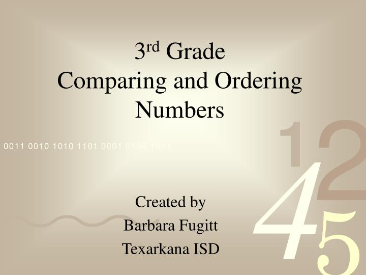 3 rd grade comparing and ordering numbers n.