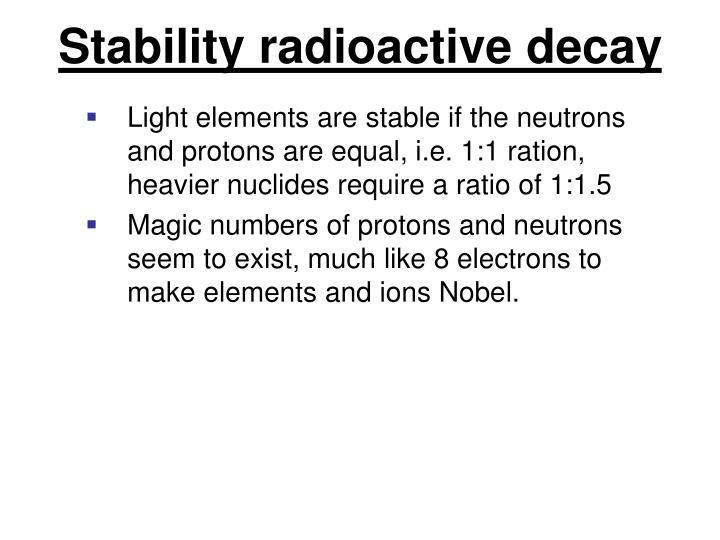 Stability radioactive decay
