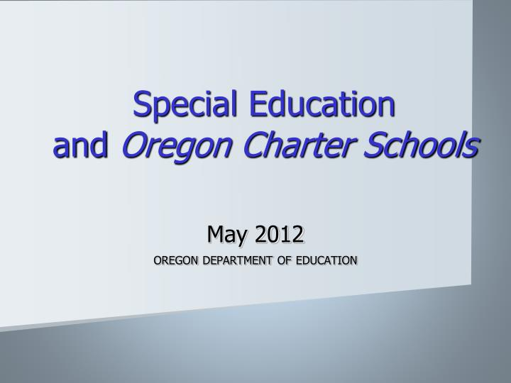 special education and oregon charter schools n.