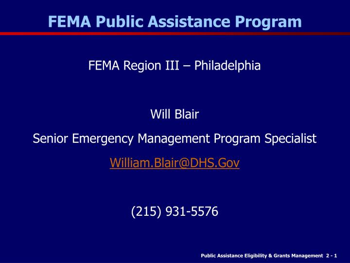 fema public assistance program n.
