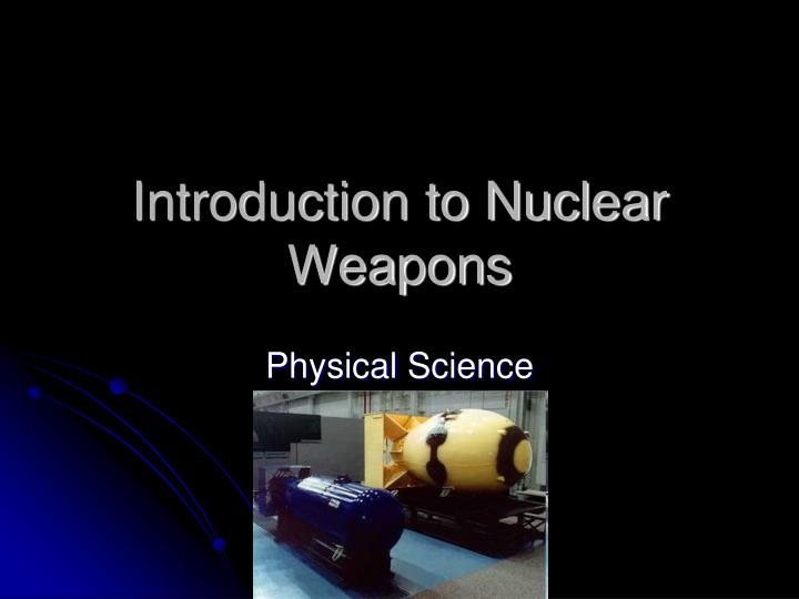 introduction to nuclear weapons n.