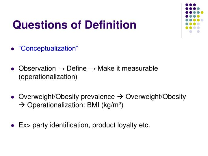 Questions of Definition