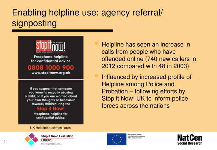 Enabling helpline use: agency referral/ signposting