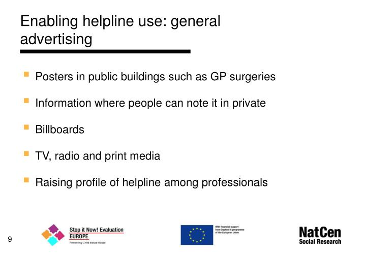 Enabling helpline use: general advertising