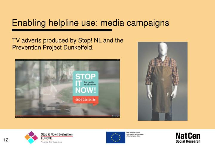 Enabling helpline use: media campaigns