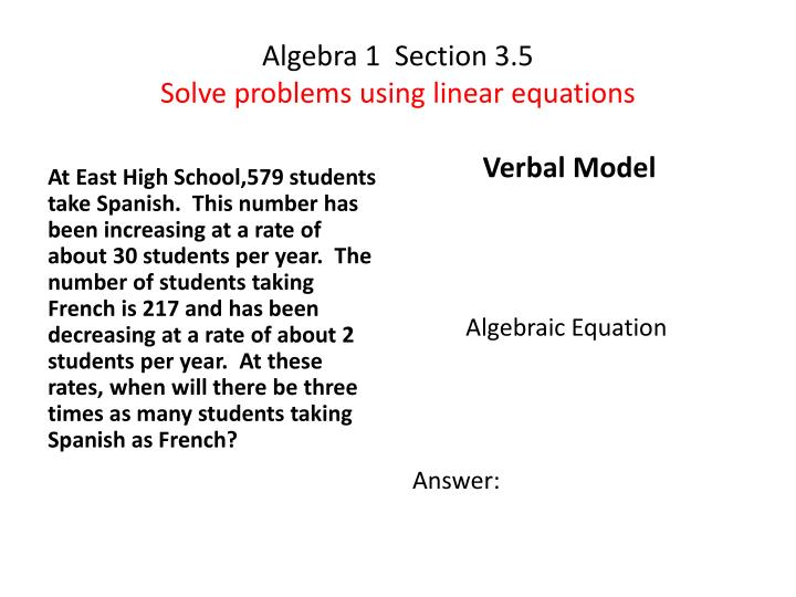 algebra 1 section 3 5 solve problems using linear equations n.