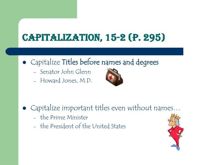 Capitalization 15 2 p 295