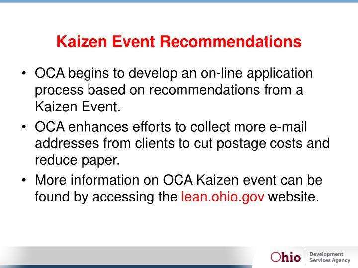 Kaizen Event Recommendations