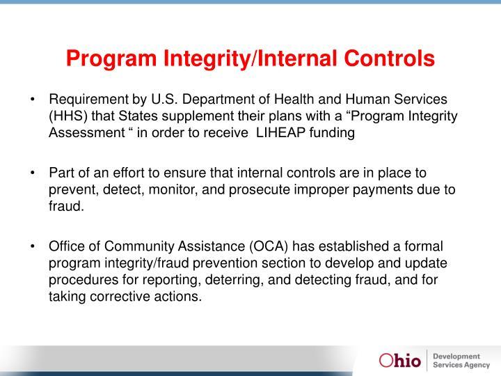 Program Integrity/Internal Controls