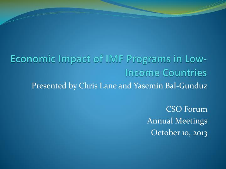 economic impact of imf programs in low income countries n.