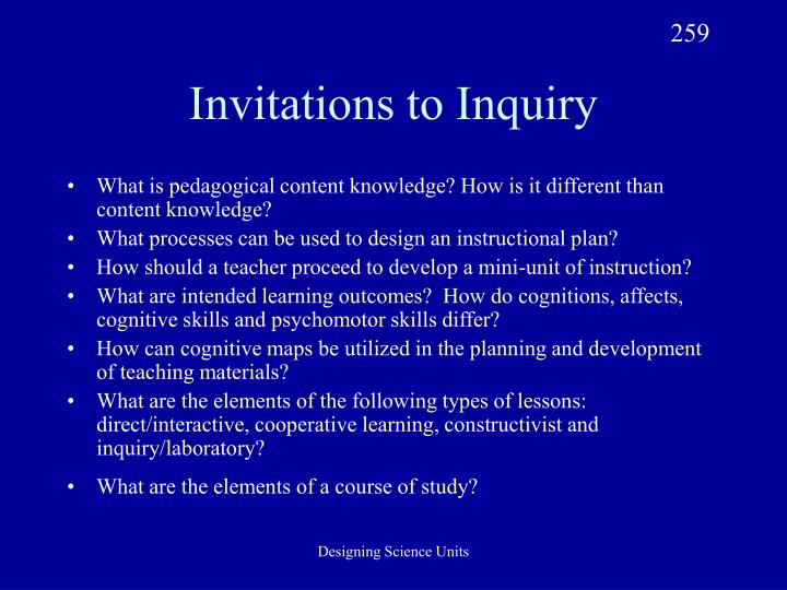 Invitations to inquiry