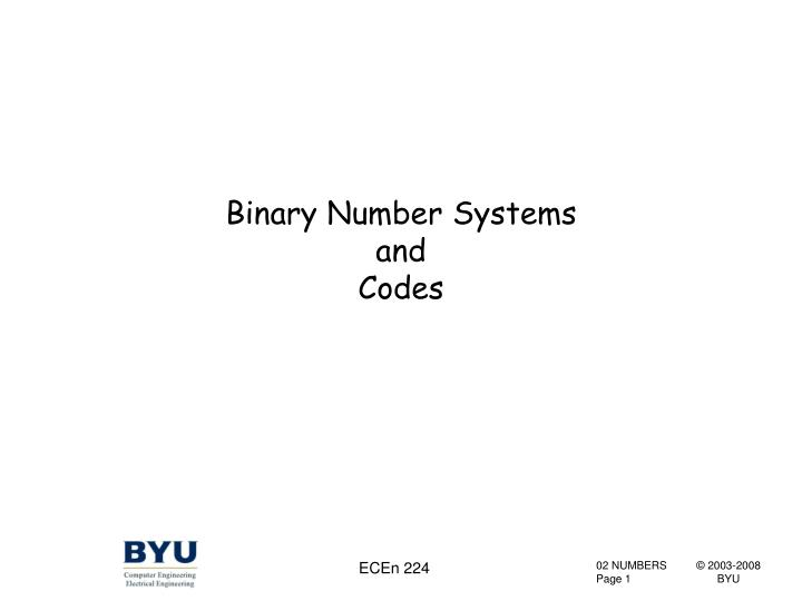 binary number systems and codes n.
