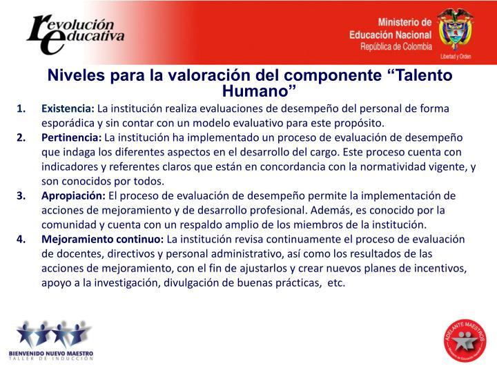 """Niveles para la valoración del componente """"Talento Humano"""""""