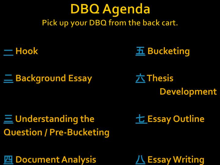 dbq agenda pick up your dbq from the back cart n.