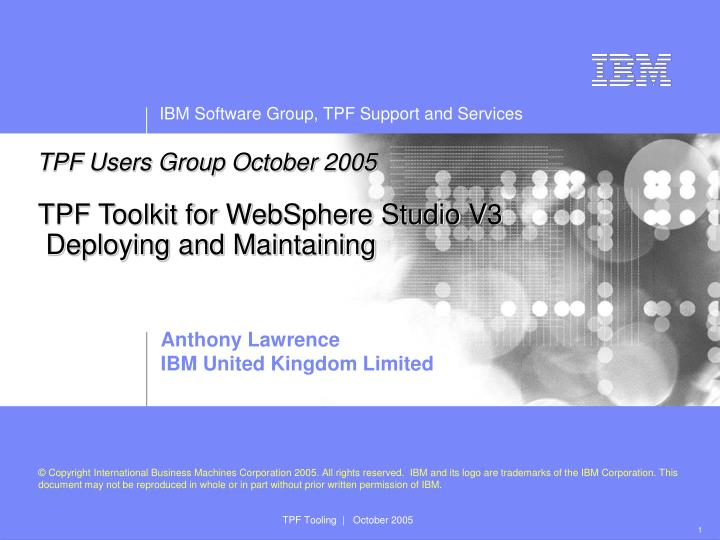 tpf toolkit for websphere studio v3 deploying and maintaining n.