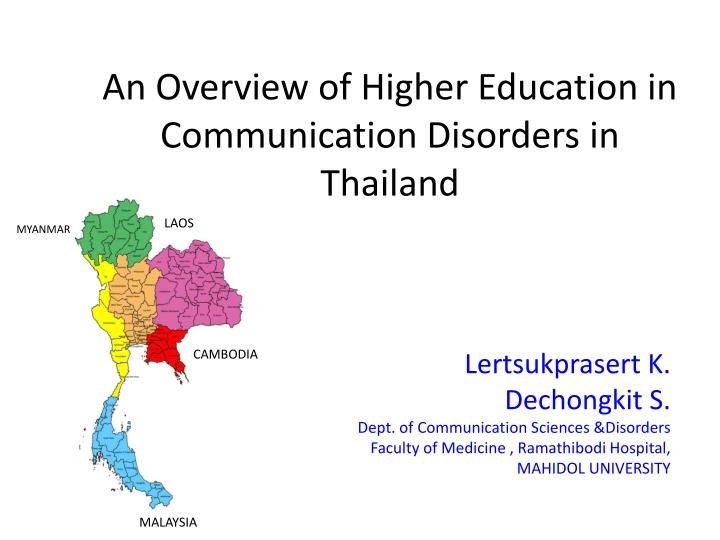 an overview of higher education in communication disorders in thailand n.