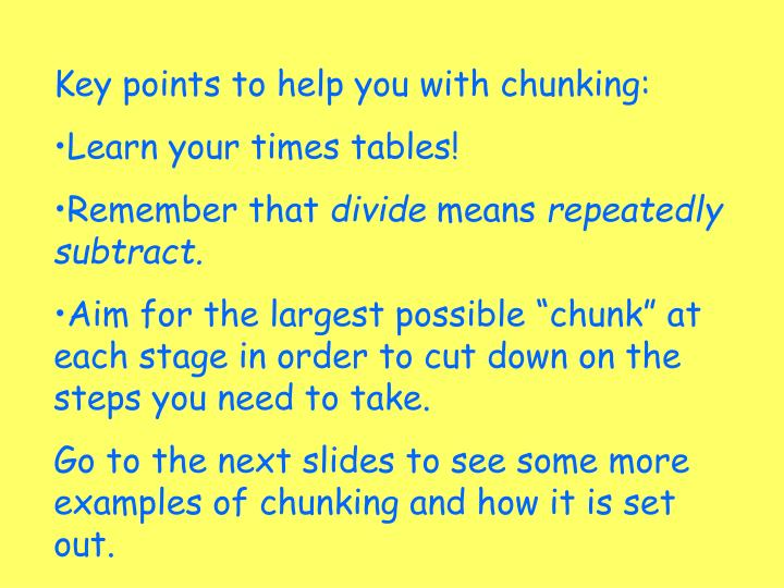 Time chunking template