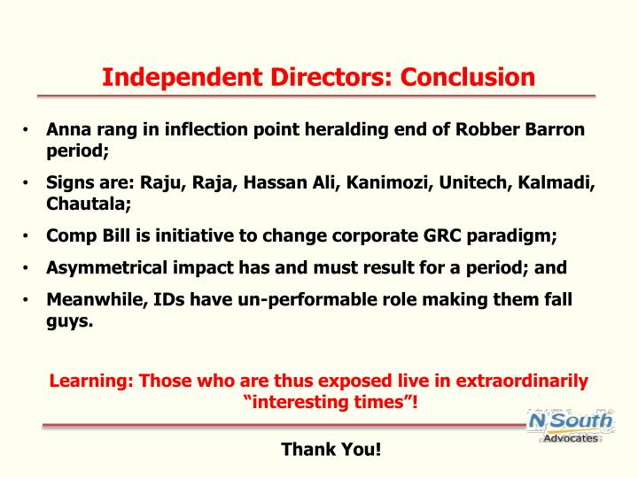 Independent Directors: Conclusion