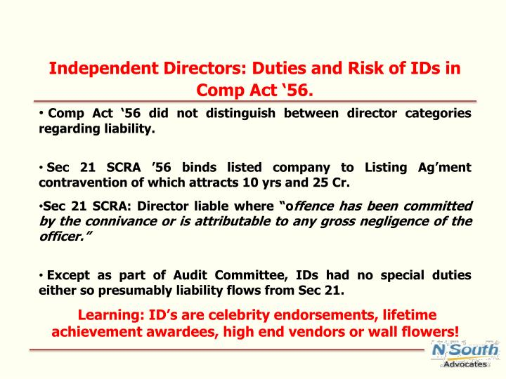 Independent Directors: Duties and Risk of IDs in Comp Act '56