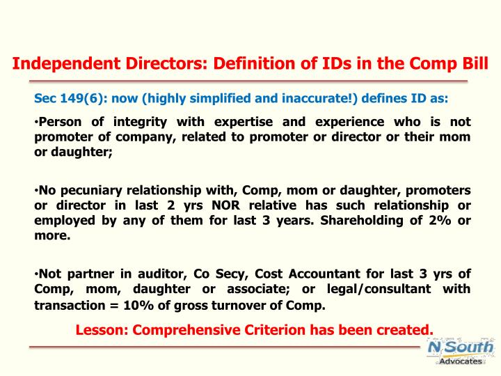 Independent Directors: Definition of IDs in the Comp Bill