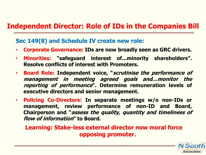 Independent Director: Role of IDs in the Companies Bill