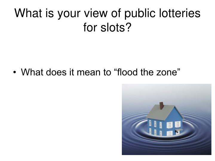 What is your view of public lotteries for slots?