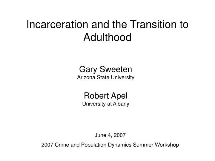 incarceration and the transition to adulthood n.