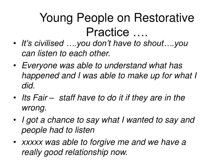 Young People on Restorative Practice ….