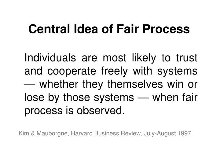 Central Idea of Fair Process