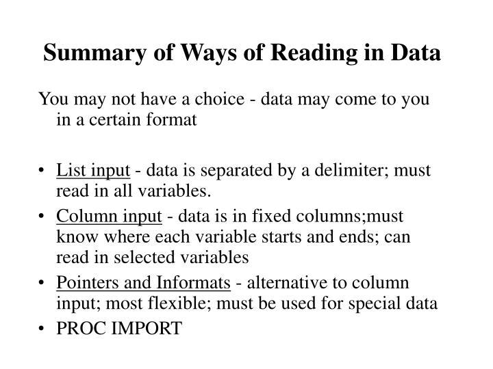 Summary of Ways of Reading in Data