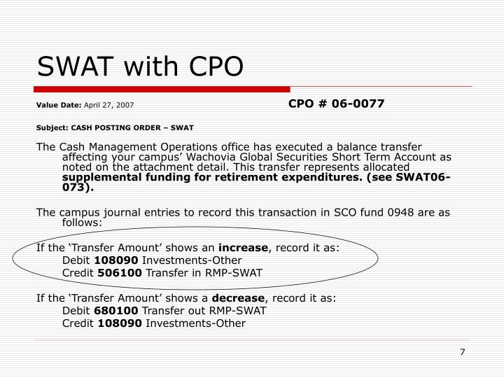 SWAT with CPO