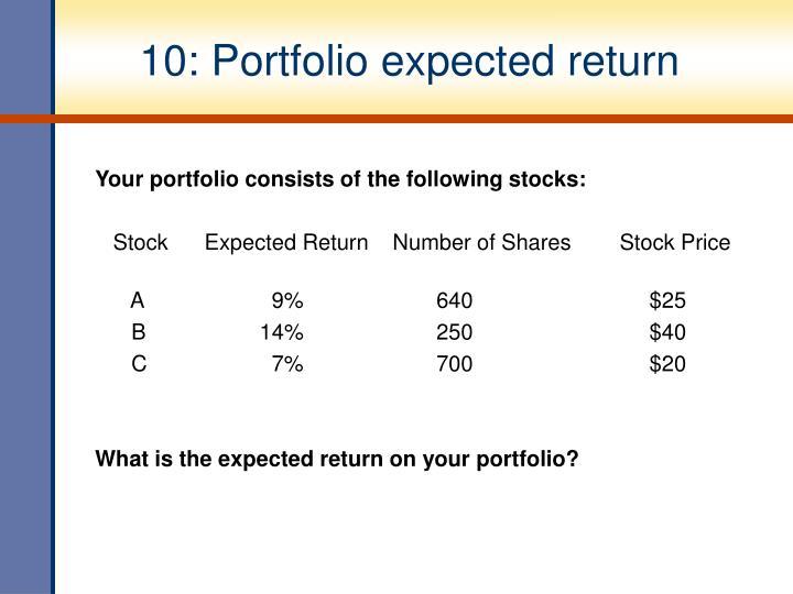 10: Portfolio expected return