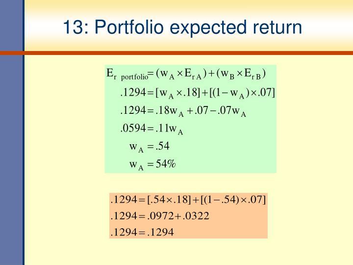 13: Portfolio expected return