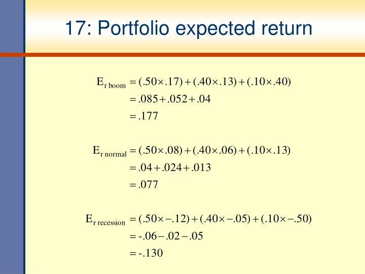 17: Portfolio expected return