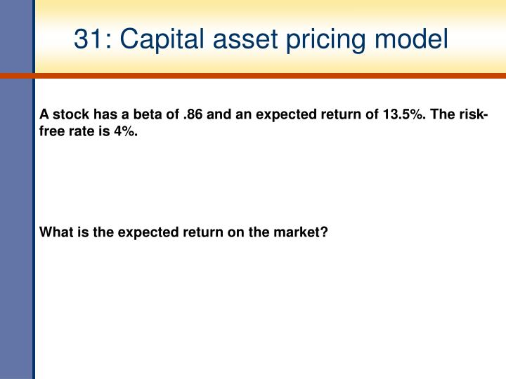 31: Capital asset pricing model