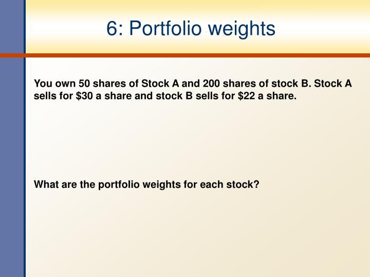 6: Portfolio weights
