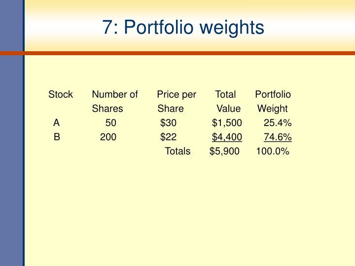 7: Portfolio weights