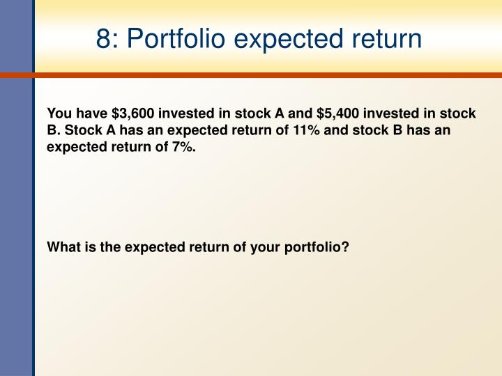 8: Portfolio expected return