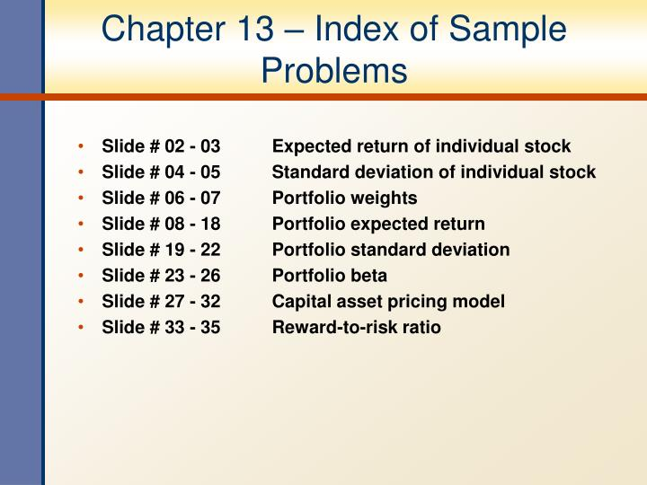 Chapter 13 index of sample problems