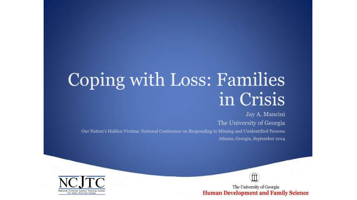 coping with loss families in crisis n.