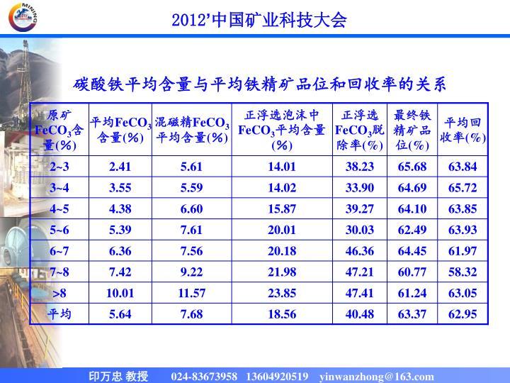 碳酸铁平均含量与平均铁精矿品位和回收率的关系
