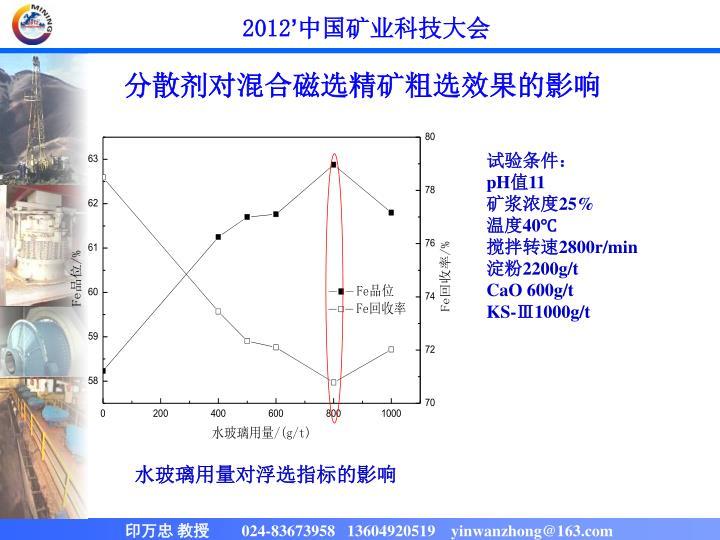 分散剂对混合磁选精矿粗选效果的影响