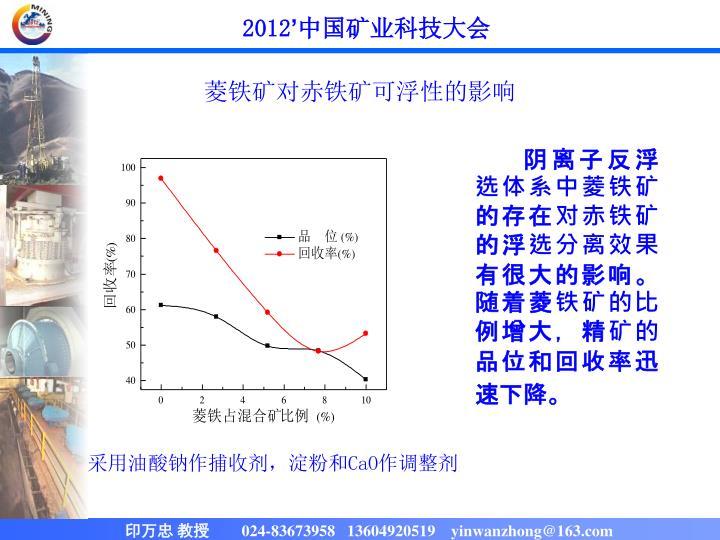 菱铁矿对赤铁矿可浮性的影响