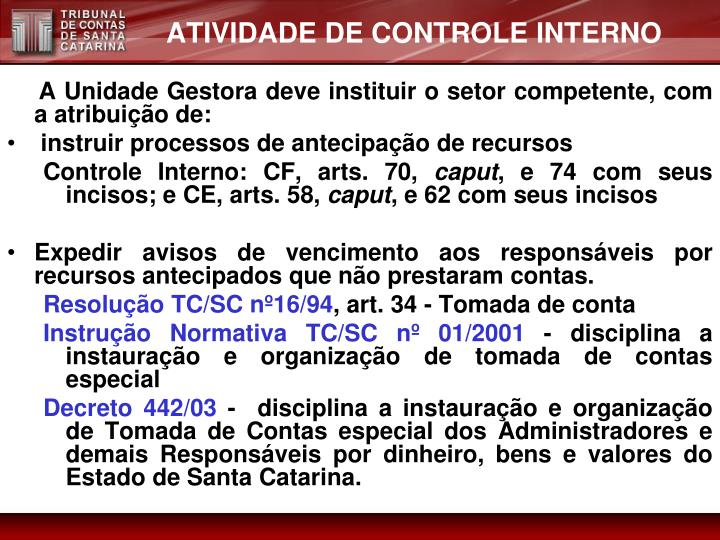 ATIVIDADE DE CONTROLE INTERNO